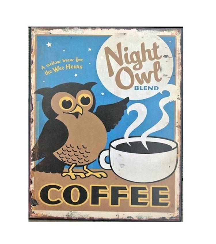 PLÅTTAVLA  Kaffe - Nattuggla