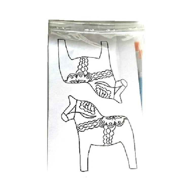 Måla en äkta dalahäst-kit (B) Platt häst.