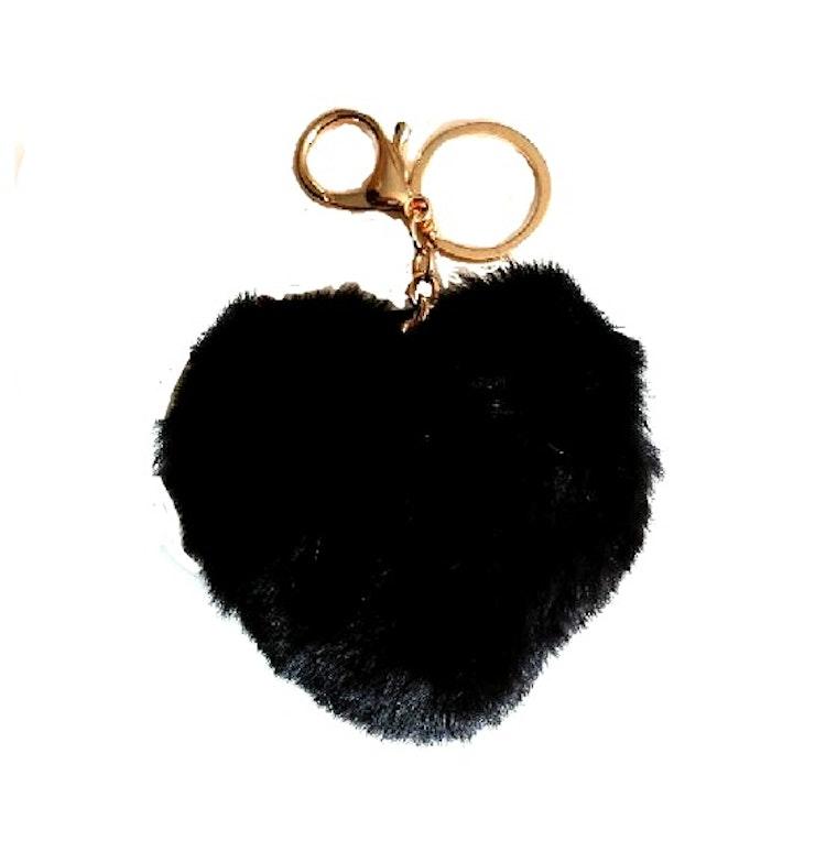 Nyckelring, hjärta - svart