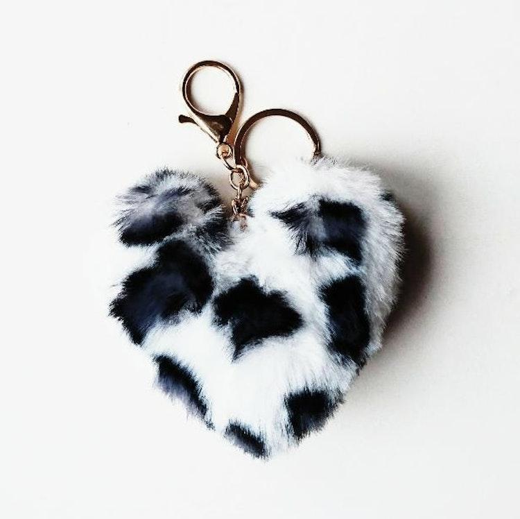 Nyckelring, hjärta - vit/grå/svart