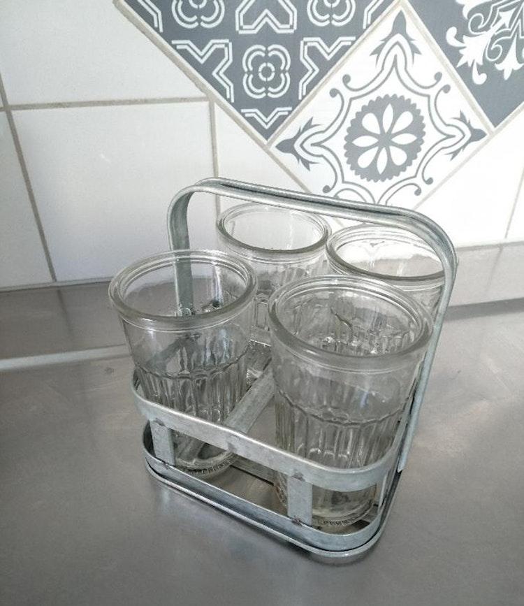 4-pack kaffeglas - drinkglas zinkställning - retro