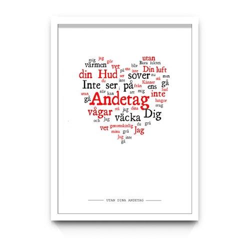 """Alla hjärtans dag-tavla """"UTAN DINA ANDETAG"""""""