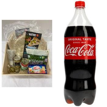 Italienska Mozzarella mixpizzan Salami och vegetarisk + GRATIS 1 1/2L Coca-Cola.