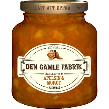 Marmelad Apelsin & morot 380g Den Gamle Fabrik