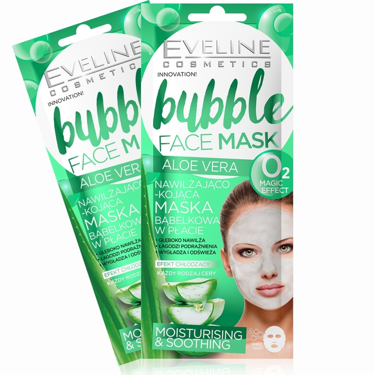 2 st.Bubble Sheet Mask Moisturising And Soothing Aloe Vera