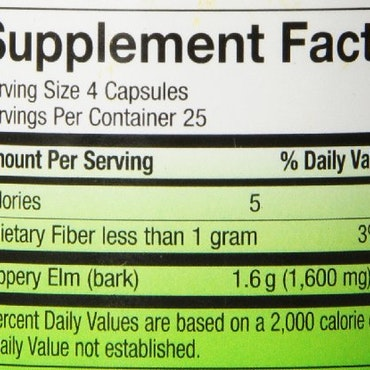 -50% Slippery Elm, 100 veg caps