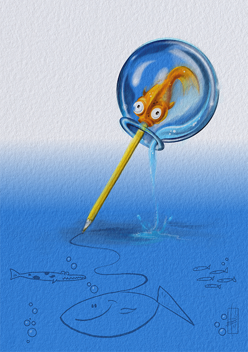 The Drawing Goldfish Print