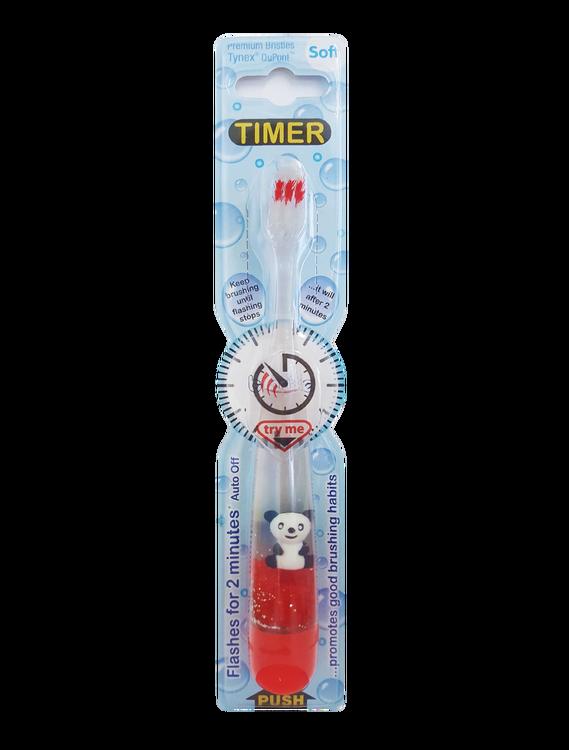 Blinkande tandborste, röd med panda