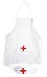 Sjuksköterskeförkläde m. hätta