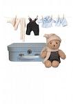 Nallebjörn med kläder i väska