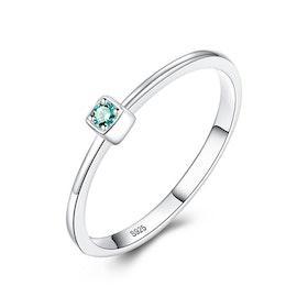 Ring i äkta sterling silver med grön ädelsten CZ R1008009