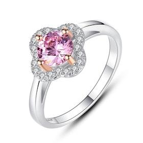 Ring i äkta sterling silver 925s med rosa och vita Cubic zirconia R1008033