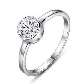 Ring i äkta silver med en ø 6mm Cubic zirconia R1008036