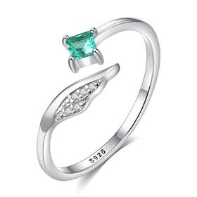 Ring i äkta sterling silver 925s Justerbar grön eller blå JR1008010