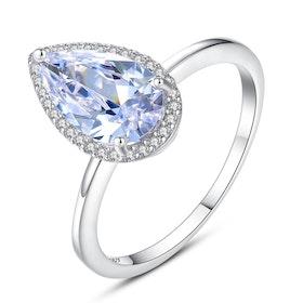 Ring i äkta sterling silver 925 med droppformad AAA+ cubic zirconia R1008025