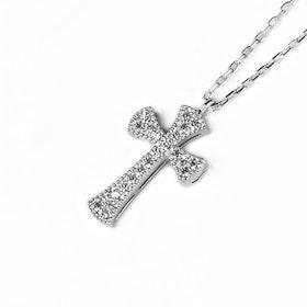 Halsband i äkta sterling silver 925 Kors N1008002