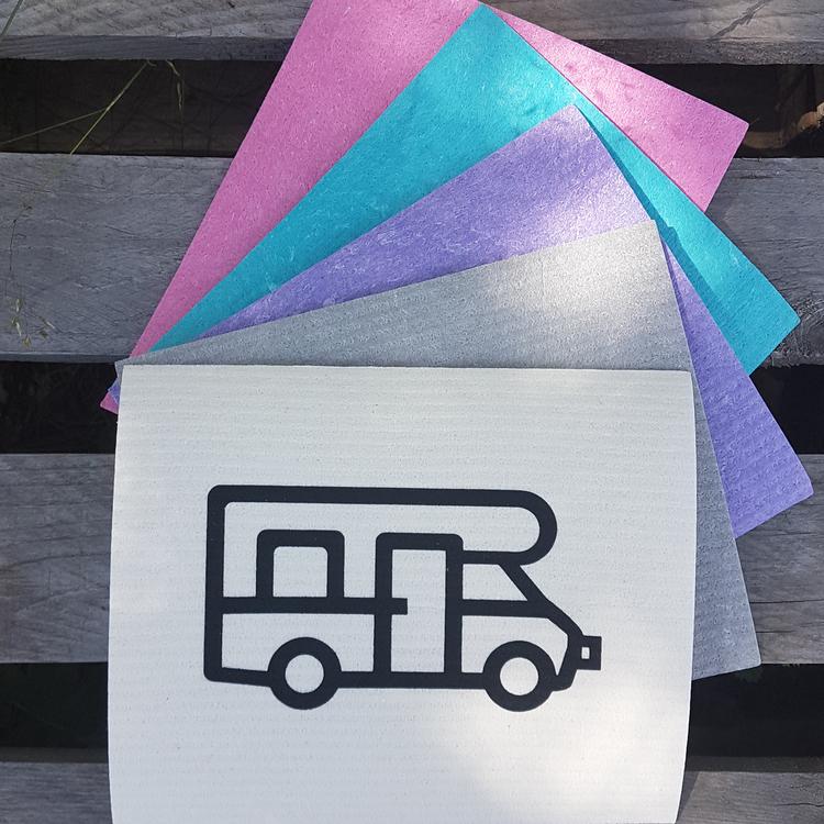 Mer eller mindre färgglada disktrasor med en klassisk husbil i svart tryck.