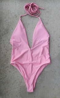 Deep V-Front Swimsuit, Pink
