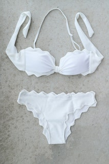 White Scalloped Bikini Set