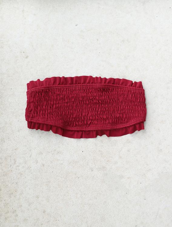Flounce Wrinkled Bandeau Bikini Top