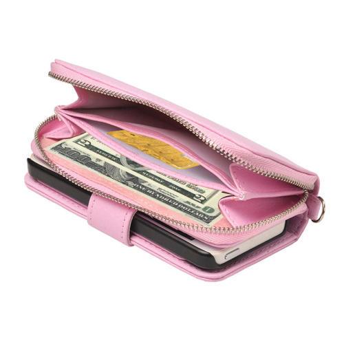 Plånbok med dragkedja, magnetlås till iPhone SE, 5, 5s