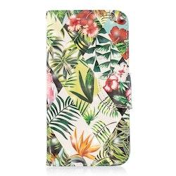 Plånbok med mönster av bananlöv för iPhone XR
