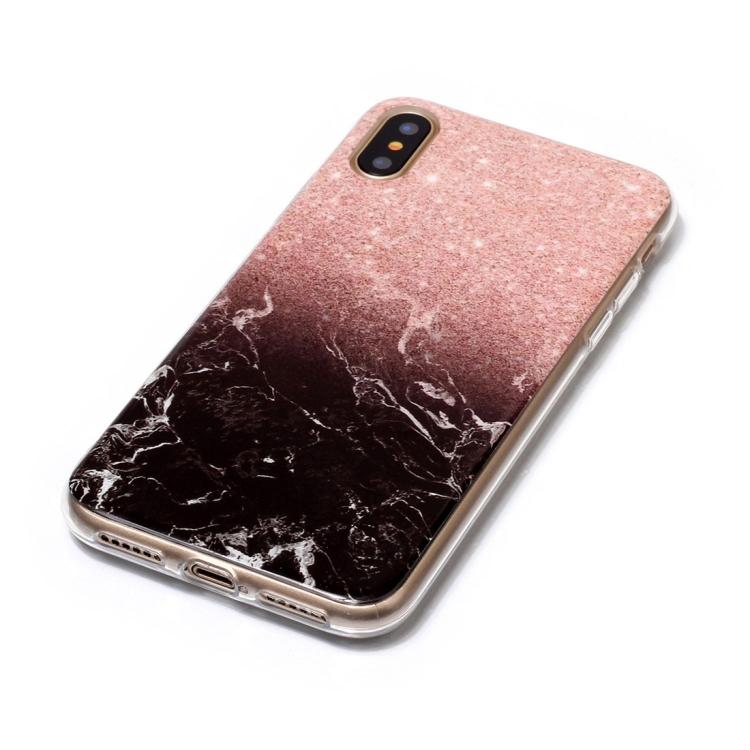 Rosa/Svart Marmorskal för iPhone X/XS
