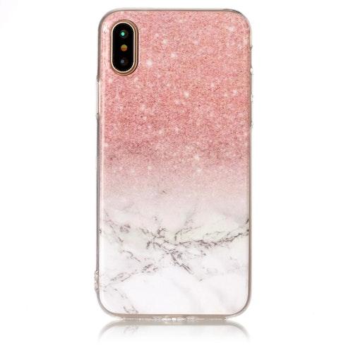 Rosa glitter Marmorskal för iPhone X/XS