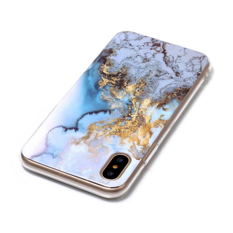Blått Marmorskal för iPhone X/XS