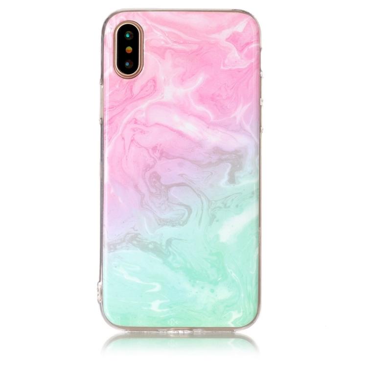Rosa och grönt Marmorskal för iPhone X/XS