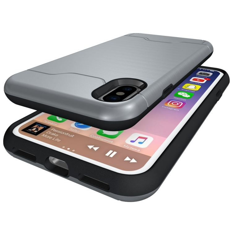 iPhone X - Stöttåligt Skal med kortficka