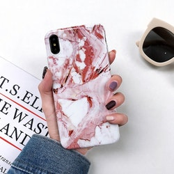Rosa/Röd Marmorskal - för iPhone Xs Max