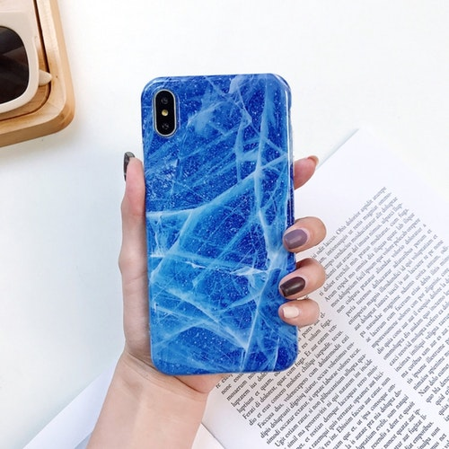Isblått Marmorskal - för iPhone Xs Max