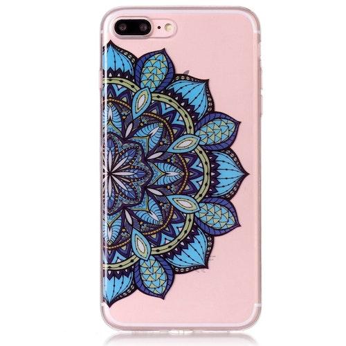 Mönster av blå blomma -skal för iPhone 7/8 plus