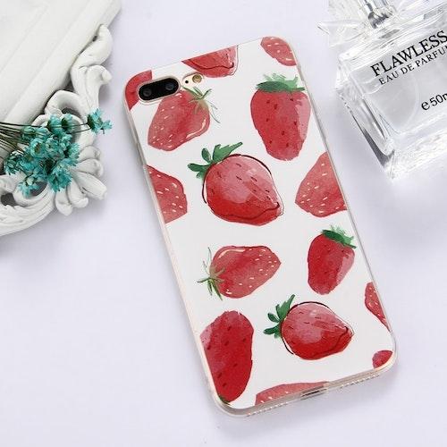 Skal med superfina jordgubbar för iPhone 7/8 plus