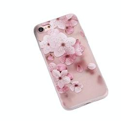 Rosa och vita blommor -skal för iPhone 7/8