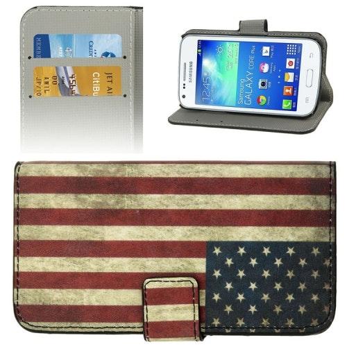 Plånboksfodral Retro Flagga till Samsung Galaxy Core Plus