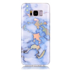 Ljusblått Marmorskal för Samsung galaxy S8