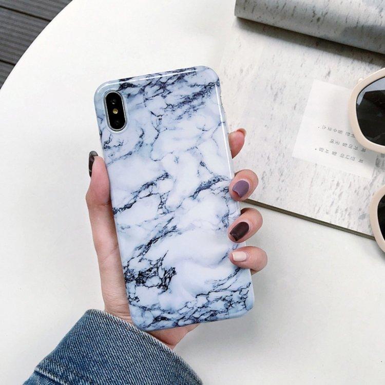 Vit/Blå Marmorskal - för iPhone Xs Max