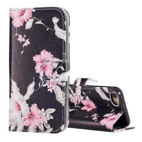 Plånbok med mönster va blommor till iPhone 7/8/SE 2020