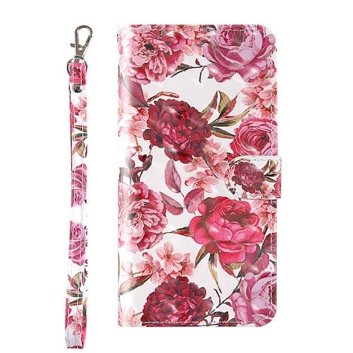 Plånbok med mönster av blommor till iPhone 7/8/SE 2020