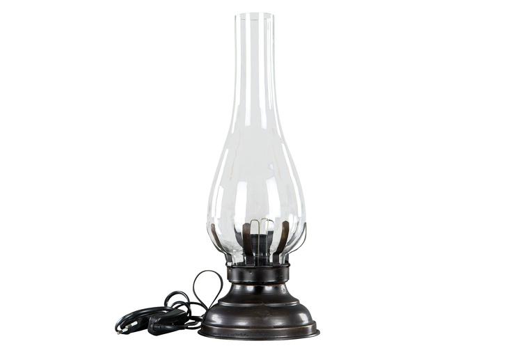 Lampa med el i fotogenstil, mörkbrun