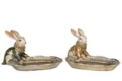 Hare med fat champange och guld