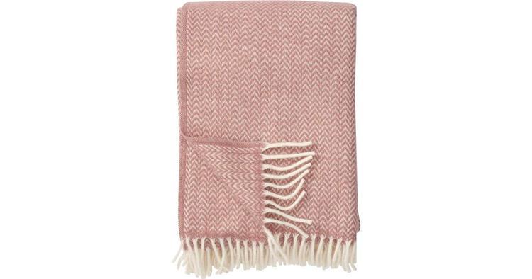Klippan filt chevron 100% ekologisk lammull nude/rosa