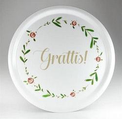 """Bricka """"Grattis"""" Mellow design"""