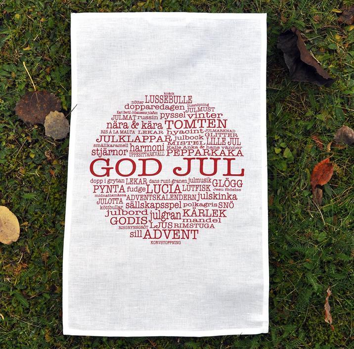 """Handduk """"God Jul"""" Mellow Design"""