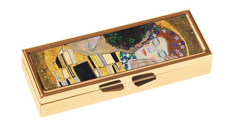 7-dagars pillerask med spegel, Gustav Klimt, Kyssen.
