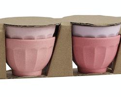 Ekologiska bambuskålar i rosa nyanser (4-pack) från danska NORDAL