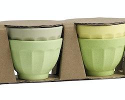 Ekologiska bambuskålar i gröna & gula nyanser (4-pack) från NORDAL
