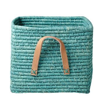 Jade / jadegrön korg med läderhandtag - från RICE